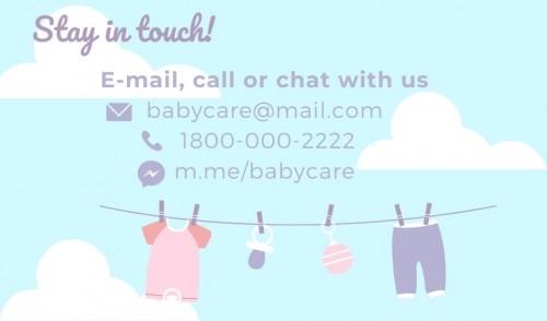 Contact # 1800 000 2222 E mail babycare@mail.com